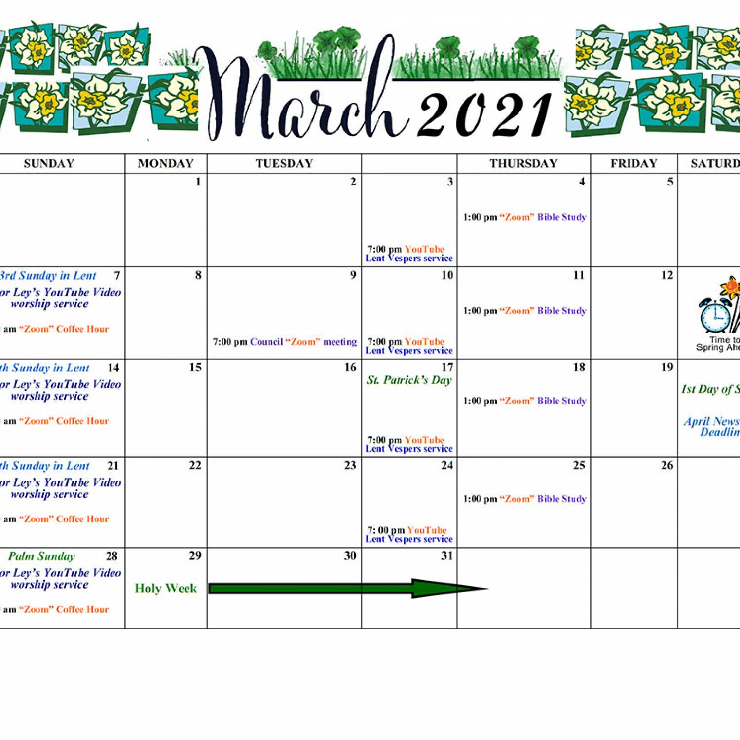 March 2021 Events Calendar
